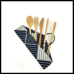 Other - Portable bamboo cutlery and cloth napkin, NWOT